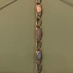 Womans 7 1/4 Inch Long Bracelet Stones Gold Color